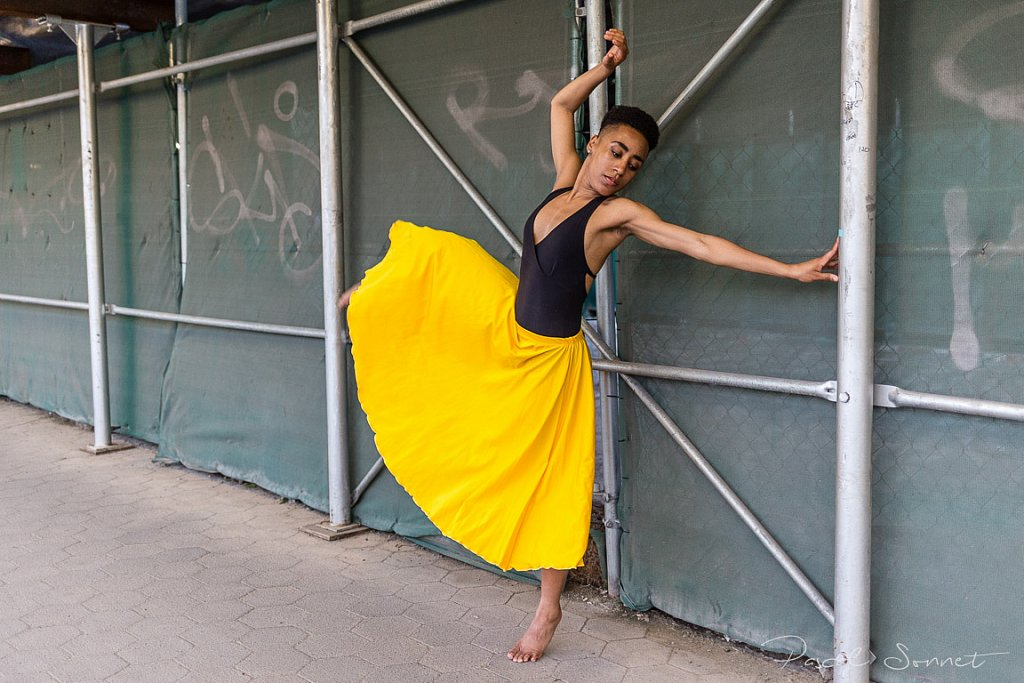 with yellow skirt